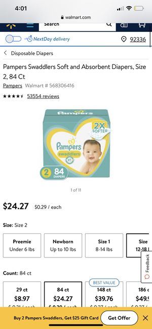 Pampers 84 ct trade for size 5 or for sale 20$ unopened for Sale in Fontana, CA