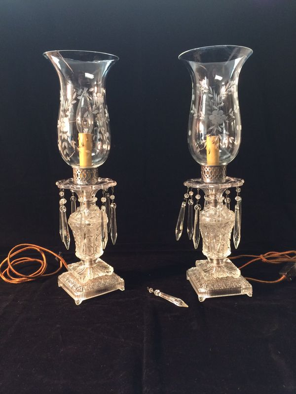 Antique Drop Crystal Hurricane Lamp