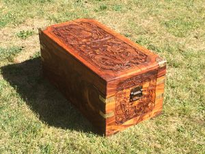 Antique hand carved wooden chest with drawers for Sale in Portland, OR