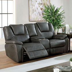 GRAY LEATHERETTE USB MOTION STORAGE CUP HOLDER CONSOLE LOVESEAT RECLINER / SILLON RECLINABLE MUEBLES for Sale in Downey,  CA