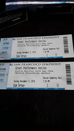 2 tickets to the San Francisco symphony to Violin Recital with Ray Chen for Sale in San Francisco, CA