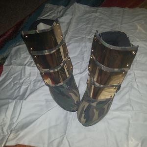Privileged, Army Print Gold Steel Plate Boots, Size 10 for Sale in Silver Spring, MD