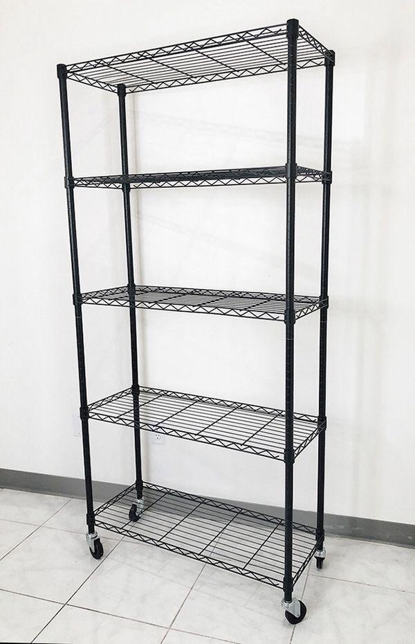 """$70 NEW Metal 5-Shelf Shelving Storage Unit Wire Organizer Rack Adjustable w/ Wheel Casters 36x14x74"""""""