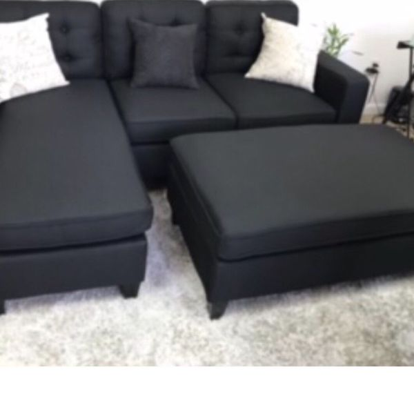 All New In Box Black Sectional Sofa