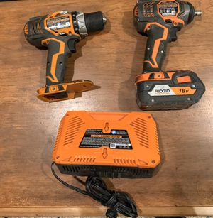 RIDGID 18-Volt Lithium-Ion Cordless Drill/Driver and Impact Driver Combo Kit with one battery for Sale in Montgomery, TX