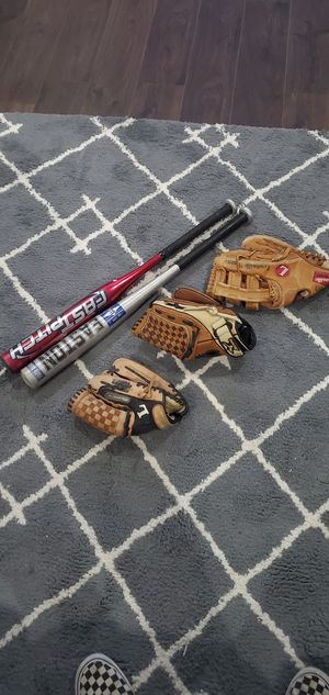 Youth Baseball items + 1 broken in adult glove for Sale in Steilacoom, WA