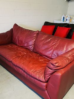 ❤️GENUINE ITALIAN LEATHER Couch❤️ Sofa Loveseat Real Leather Red Claret Burgundy for Sale in Kissimmee,  FL