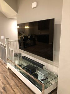 Double Decker Glass and Stainless TV Console with drawers purchased at Mondoni