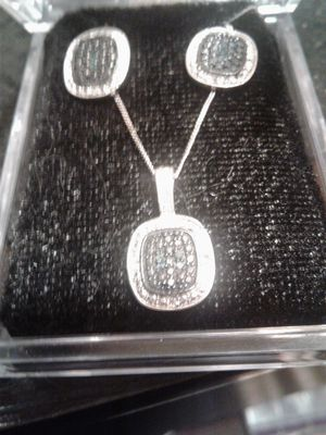 925 Silver blue and white diamond earring and necklace set for Sale in Granite City, IL