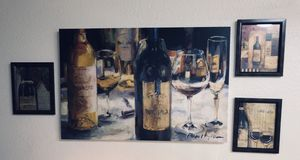 Canvas Wine Painting w 3 matching frames. for Sale in San Antonio, TX