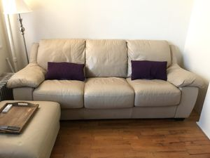Free leather sleeper sofa and ottoman for Sale in Brooklyn, NY