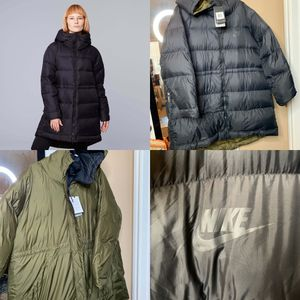 Womens Nike Down Fill Reversible Jacket XXL 939434-010 BLK/Olive Green Parka for Sale in Grand Prairie, TX