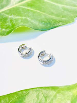 White Gold Thick Hoops Earrings With Diamonds. for Sale in Coral Gables, FL