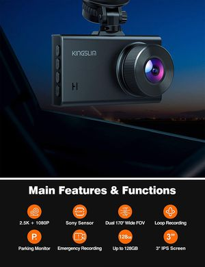 2.5K Dual Dash Cam, 1440P&1080P Front and Rear Camera for Cars 170 Degree with Sony Starvis Sensor Night Vision G-Sensor Parking Mode 128GB Max for Sale in Syosset, NY
