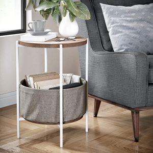 🔥 round wöôd bëdsidê täble with fabric störage 🔥 for Sale in Beaumont, CA