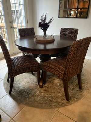 Pottery Barn Espresso table & Four Seagrass chairs for Sale in Fort Belvoir, VA