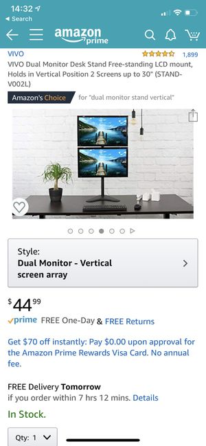 Vivo Dual Monitor Stand for Sale in North Las Vegas, NV