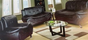 Black leather three piece couch set for Sale in Vancouver, WA