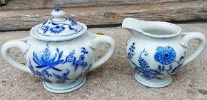 Blue danube creamer and sugar set w old banner mark blue onion porcelain for Sale in Saginaw, MI