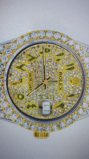 Iced out Rolex Datejust 36 MM l two tone l 10 carats of diamonds l full Diamond green Arabic Diamond Dial for Sale in Rialto, CA