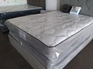 New GRAY Queen mattress set FRAME SOLD SEPARATELY for Sale in Las Vegas, NV