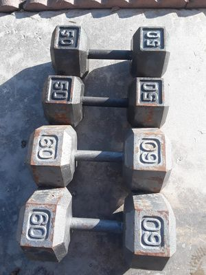 Dumbbell 2 50lbs 2 60lbs serious buyers only firm on for Sale in Berenda, CA