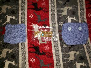 Bear crochet newborn hat and diaper set with newborn crown for Sale in Boston, MA