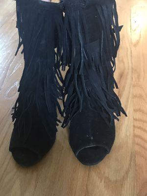 Black fringe booties/sandals for Sale in Hamilton Township, NJ