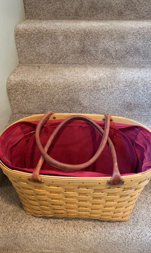 Longaberger wood basket tote leather handles for Sale in Wenatchee, WA