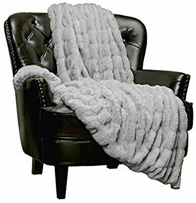 Royal Faux Fur Throw Blanket - Fuzzy Plush Elegant Blanket for Sofa Chair Couch and Bed with Reversible Velvet Blanket (50x65 Inches)