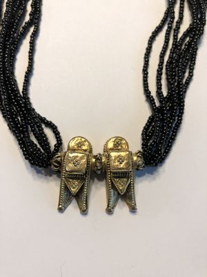 Old black glass and gold plated Indian necklace for Sale in Wayland, MA