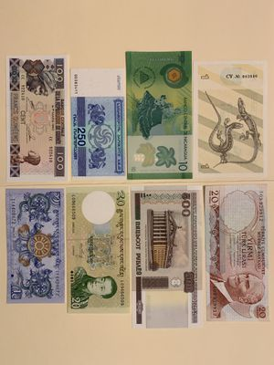 8 PCS World Mix Banknote Set for $12 Currency Money Lithuania Nicaragua Georgia Guinee Turkey (Mustafa Kemal Ataturk) Bhutan Belarus for Sale in Atlanta, GA