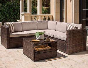 Outdoor patio set furniture wicker backyard waterproof sectional sofa table for Sale in Fontana, CA
