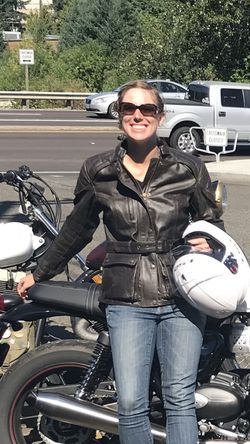 TRIUMPH women's small leather full-armored motorcycle jacket for Sale in Portland,  OR
