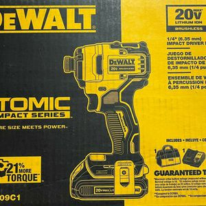 DEWALT ATOMIC 20-Volt MAX Lithium-Ion Brushless Cordless Compact 1/4 in. Impact Driver w/ (1) Battery 1.3Ah, Charger & Tool Bag for Sale in Miami, FL