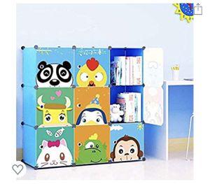 Kids' Toy Storage Cube Organizer for Children Bookcase Cabinet Blue Cartoon 9 Cube for Sale in Riverside, CA
