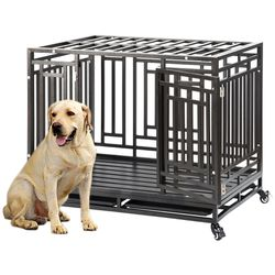 Heavy Duty Dog Cage Crate Kennel Playpen Large Strong Metal for Large Dogs and Pets, Easy to Assemble with Patent Lock and Four Lockable Wheels, 46 in for Sale in Monterey Park,  CA