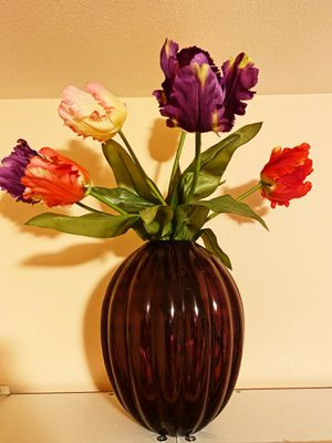 Purple Vase filled with fake Tulips for Sale in Auburn, WA