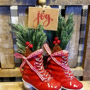 Farmhouse Red Ice Skates 4 Rae Dunn Tiered Trays for Sale in Delta, CO