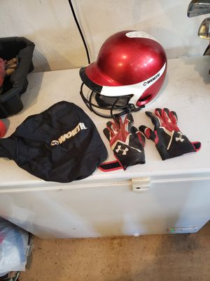 Softball Worth Helmet w bag, & gloves for Sale in Chelmsford, MA