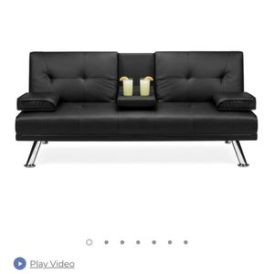 Faux Leather Upholstered Convertible Sofa Bed Futon w/ 2 Cupholders for Sale in Newburgh Heights, OH