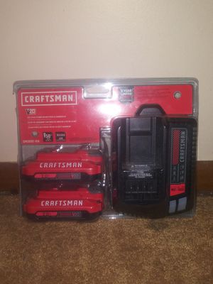 Brand New. Craftsman 2 rechargeable lithium 20Ah batteries and charging kit for Sale in Lincoln, NE