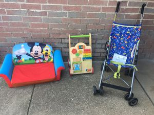 Everearth activity walker, a light weight stroller and a Disney flip open sofa. for Sale in Fort Worth, TX
