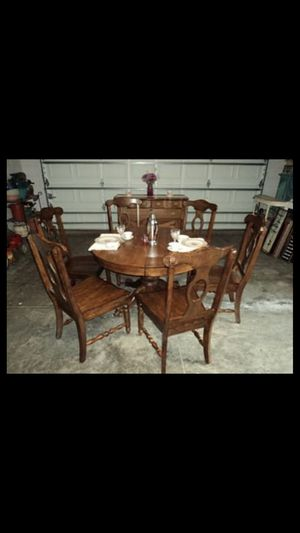 Antique restored oak table buffet set 6 chairs leaf for Sale in Clermont, FL