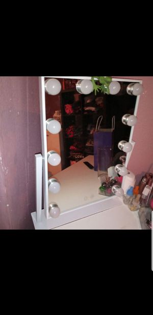 Hollywood Makeup Vanity Mirror - White Lighted Makeup Mirror Tabletops Lighted Mirror, LED Illuminated Cosmetic Mirror with LED Dimmable Bulbs for Sale in Vancouver, WA