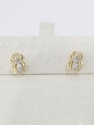 Black Friday Special Real 10k Yellow Gold Diamond Small Spider Earrings for Sale in Richmond, TX