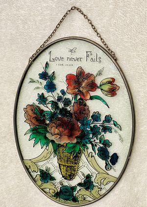 "Stained glass/sun catcher ""Love Never Fails"" for Sale in Robertsdale, AL"