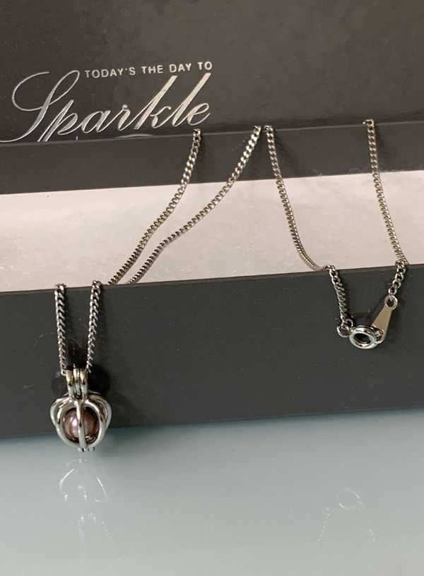 Fresh Water Pearl ( Silver Rose ) Locket Necklace, Brand New!