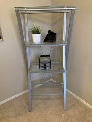 Office furniture- L shaped table, shelf and black chair for Sale in Chandler, AZ