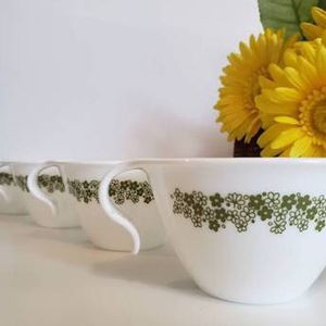 Set Of 4 Vintage Crazy Daisy Cups Mugs Corning Ware Pyrex for Sale in Santa Ana, CA